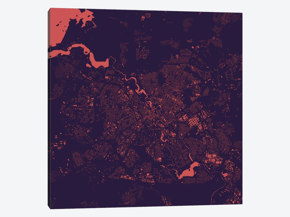 Minsk Urban Map (Purple Night) by Urbanmap 1-piece Canvas Art