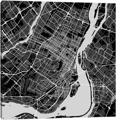 Montreal Urban Roadway Map (Black) Canvas Art Print