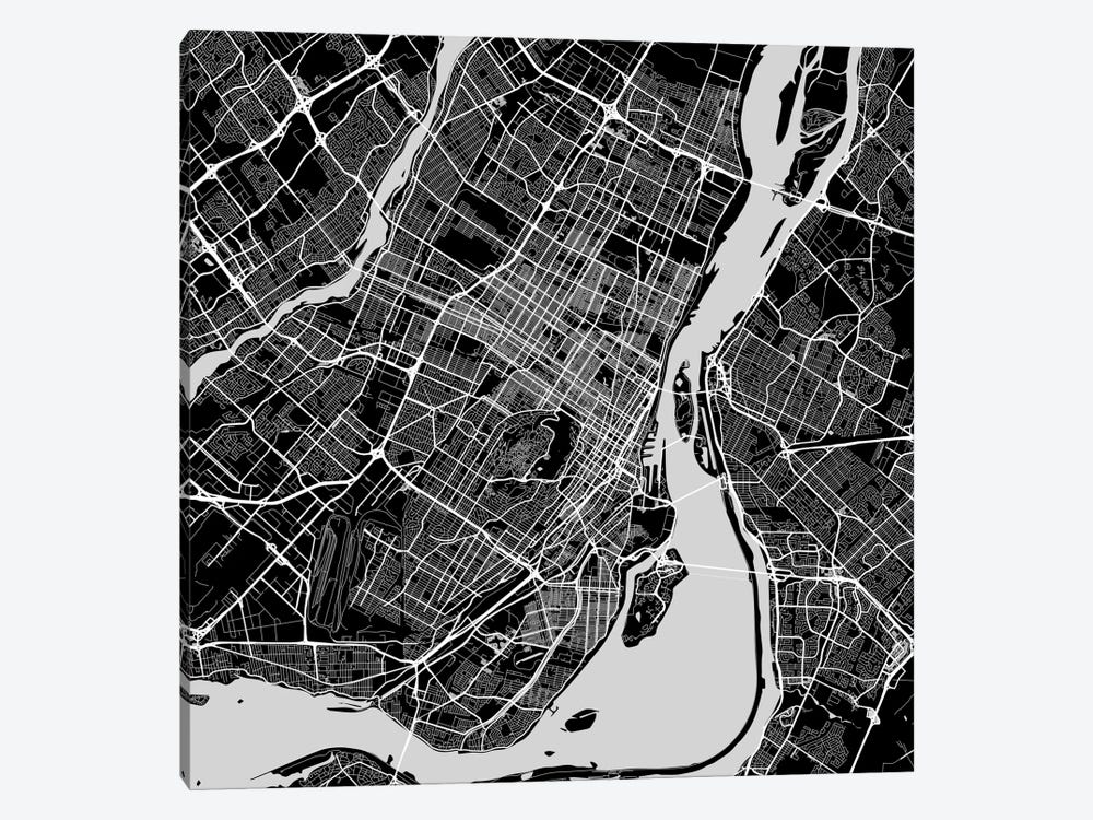 Montreal Urban Roadway Map (Black) by Urbanmap 1-piece Canvas Print