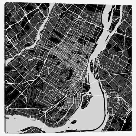 Montreal Urban Roadway Map (Black) Canvas Print #ESV218} by Urbanmap Canvas Wall Art
