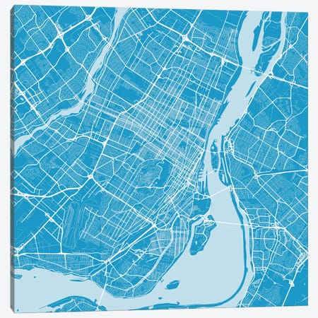 Montreal Urban Roadway Map (Blue) Canvas Print #ESV219} by Urbanmap Canvas Artwork