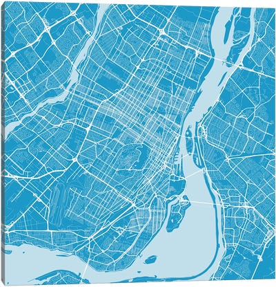 Montreal Urban Roadway Map (Blue) Canvas Art Print