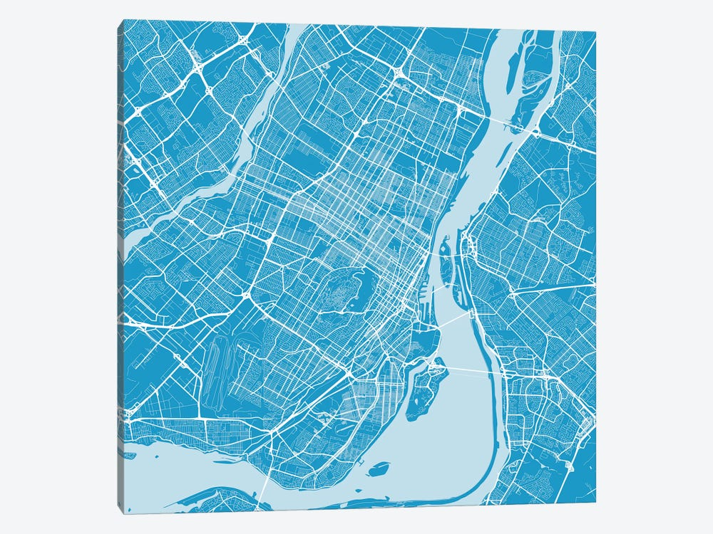 Montreal Urban Roadway Map (Blue) 1-piece Canvas Art