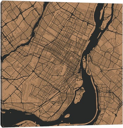 Montreal Urban Roadway Map (Gold) Canvas Art Print