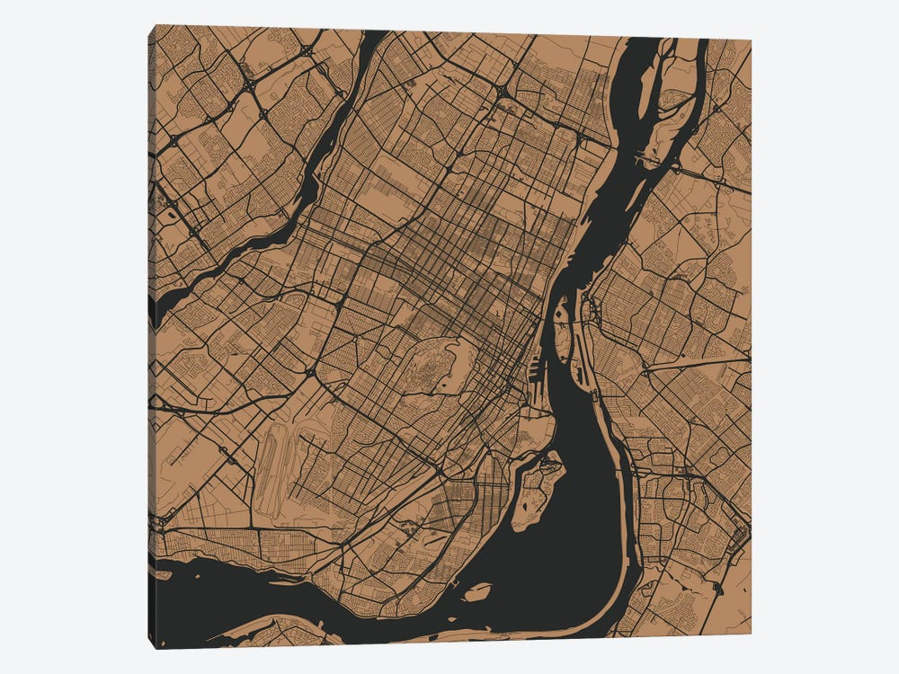 Montreal Urban Roadway Map (Gold) by Urbanmap 1-piece Canvas Art