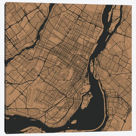Montreal Urban Roadway Map (Gold) Canvas Print #ESV220} by Urbanmap Canvas Art Print