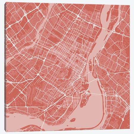 Montreal Urban Roadway Map (Pink) Canvas Print #ESV222} by Urbanmap Canvas Art Print
