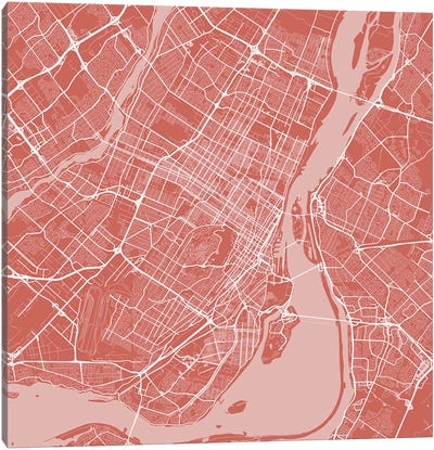 Montreal Urban Roadway Map (Pink) Canvas Art Print