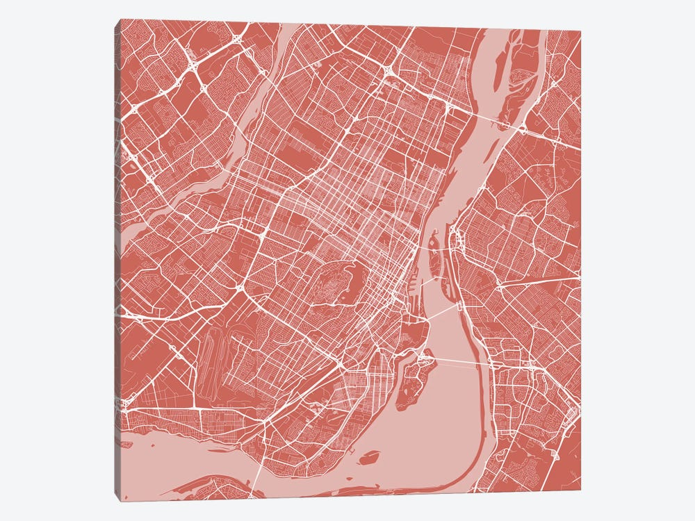 Montreal Urban Roadway Map (Pink) by Urbanmap 1-piece Canvas Wall Art