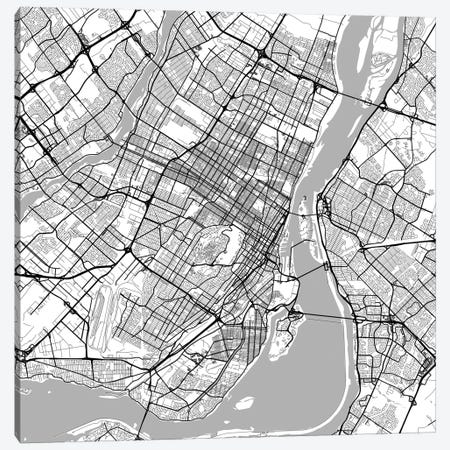 Montreal Urban Roadway Map (White) Canvas Print #ESV225} by Urbanmap Canvas Wall Art