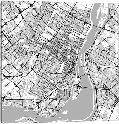 Montreal Urban Roadway Map (White) Canvas Print #ESV225