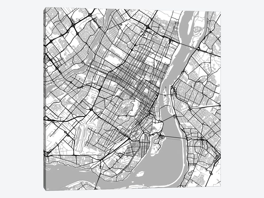 photograph regarding Printable Map of Montreal referred to as Montreal City Roadway Map (White) Artwork Print by way of Urbanmap iCanvas