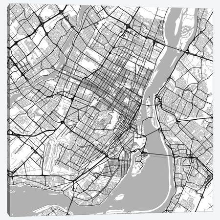 Montreal Urban Roadway Map (White) Canvas Print #ESV225} by Urbanmap Canvas Wall Art