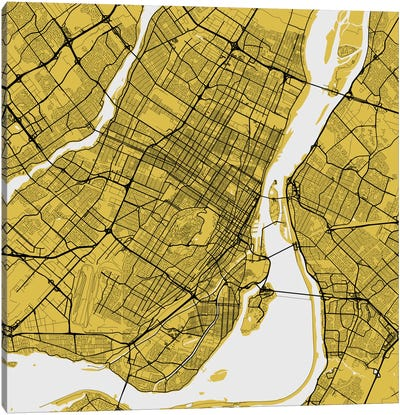 Montreal Urban Roadway Map (Yellow) Canvas Art Print