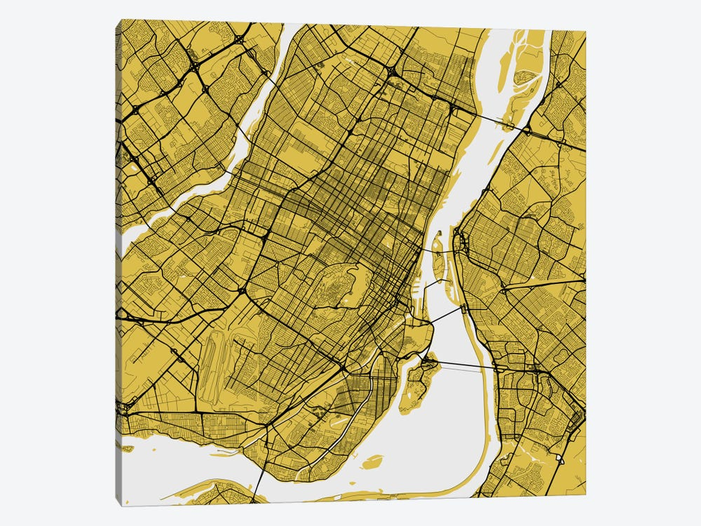 Montreal Urban Roadway Map (Yellow) by Urbanmap 1-piece Canvas Wall Art