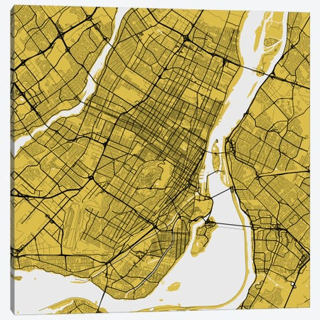 Montreal Urban Roadway Map (Yellow) Canvas Print #ESV226} by Urbanmap Canvas Wall Art