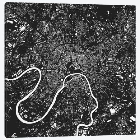 Moscow Urban Map (Black) Canvas Print #ESV227} by Urbanmap Canvas Wall Art