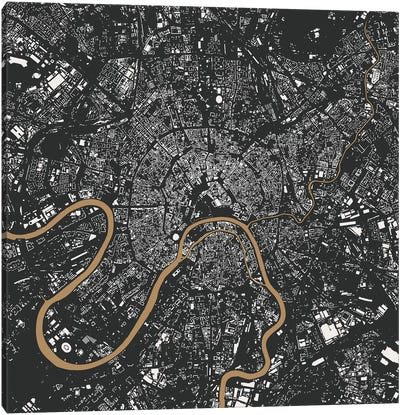 Moscow Urban Map (Gold) Canvas Art Print