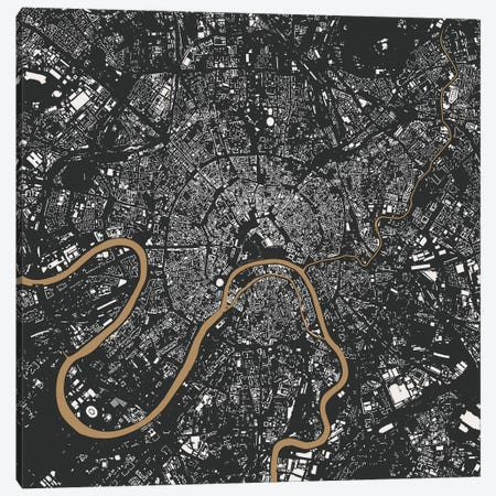Moscow Urban Map (Gold) Canvas Print #ESV229} by Urbanmap Art Print