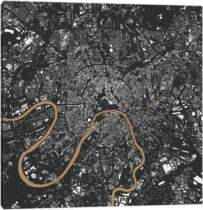 Moscow Urban Map (Gold) Canvas Print #ESV229