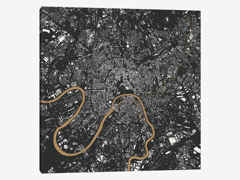 Moscow Urban Map (Gold) by Urbanmap 1-piece Canvas Art Print