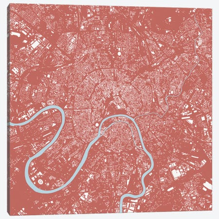 Moscow Urban Map (Pink) Canvas Print #ESV231} by Urbanmap Canvas Art