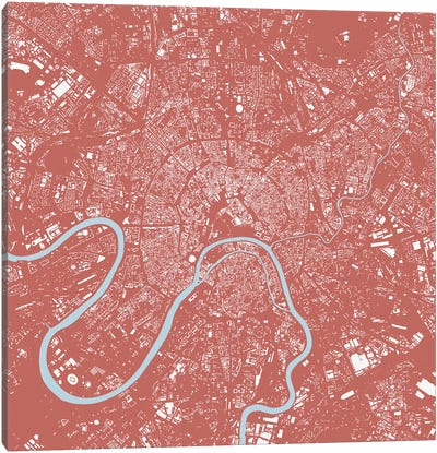 Moscow Urban Map (Pink) Canvas Art Print
