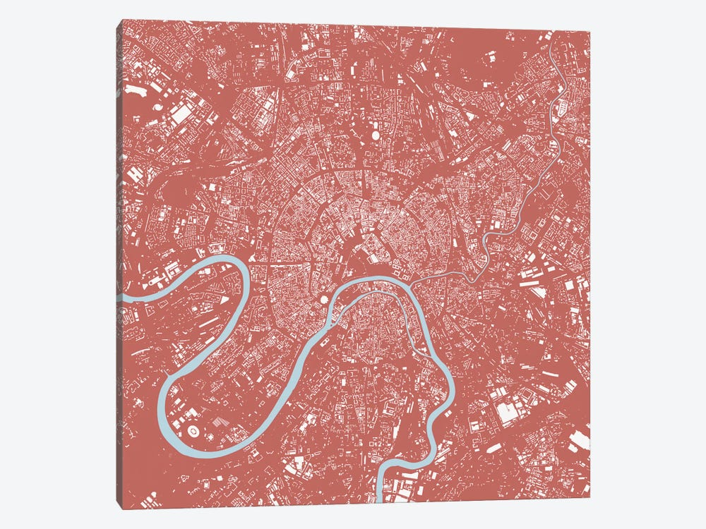 Moscow Urban Map (Pink) by Urbanmap 1-piece Canvas Art
