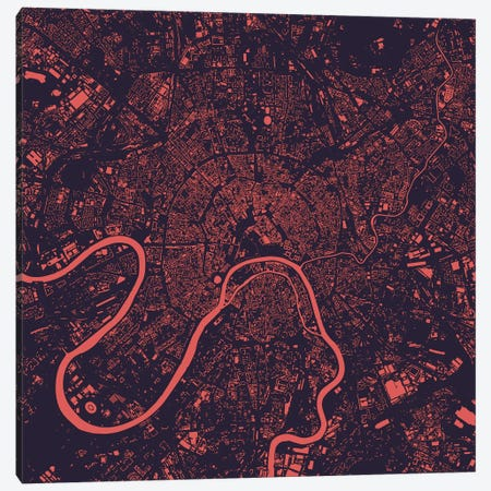 Moscow Urban Map (Purple Night) Canvas Print #ESV232} by Urbanmap Canvas Art