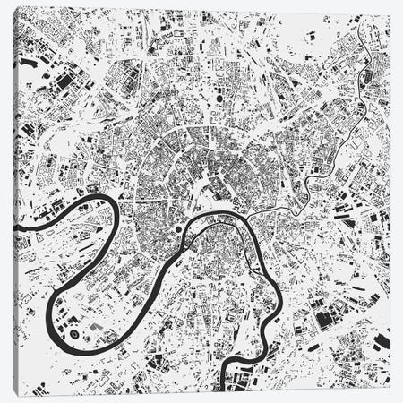 Moscow Urban Map (White) Canvas Print #ESV234} by Urbanmap Art Print