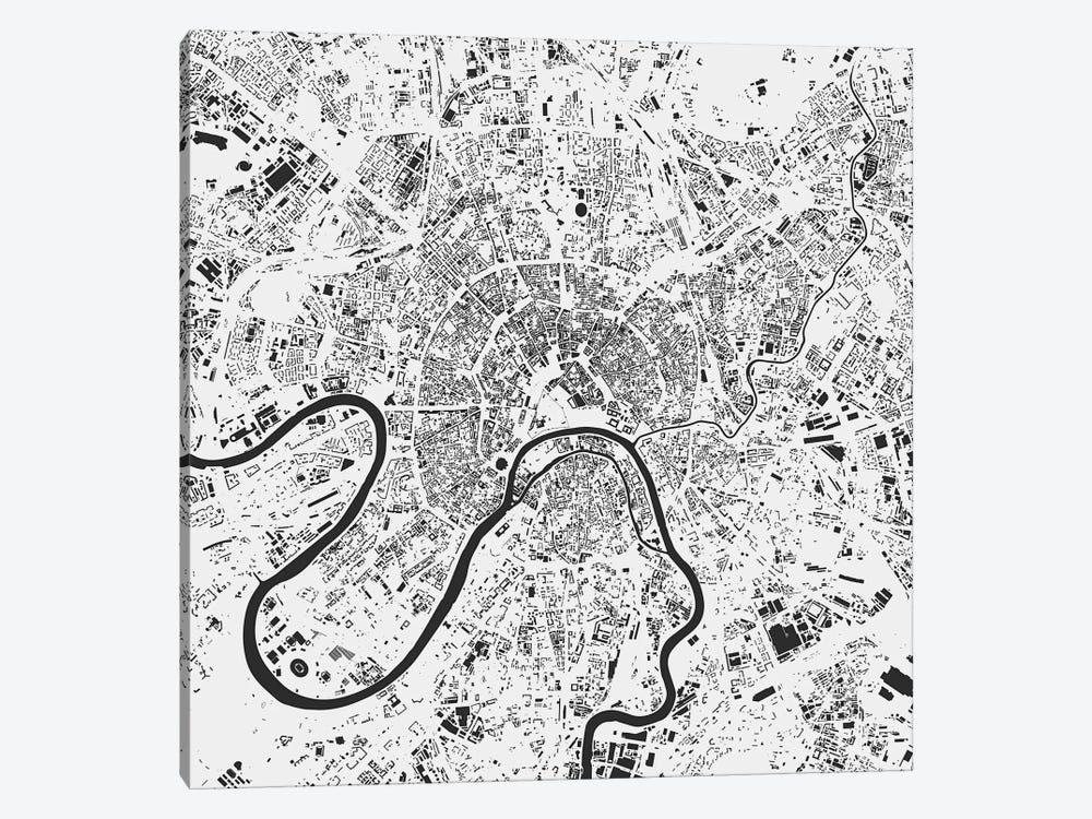 Moscow Urban Map (White) by Urbanmap 1-piece Art Print