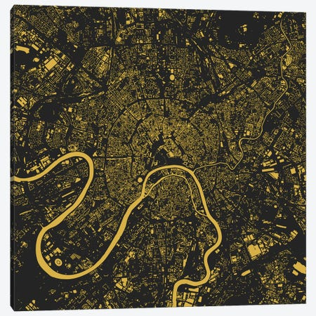 Moscow Urban Map (Yellow) Canvas Print #ESV235} by Urbanmap Art Print
