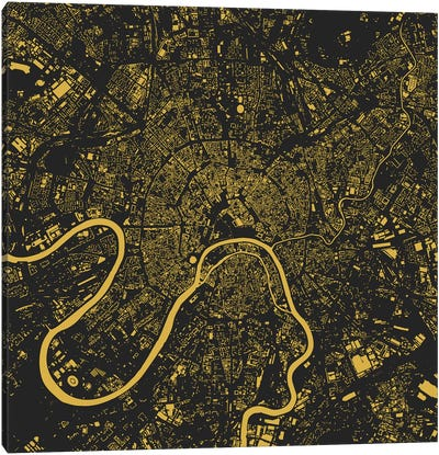 Moscow Urban Map (Yellow) Canvas Art Print