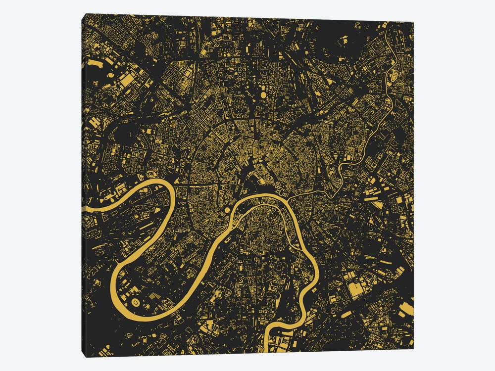 Moscow Urban Map (Yellow) by Urbanmap 1-piece Canvas Artwork