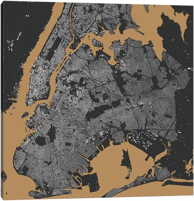 New York City Urban Map (Black & Gold) Canvas Art Print