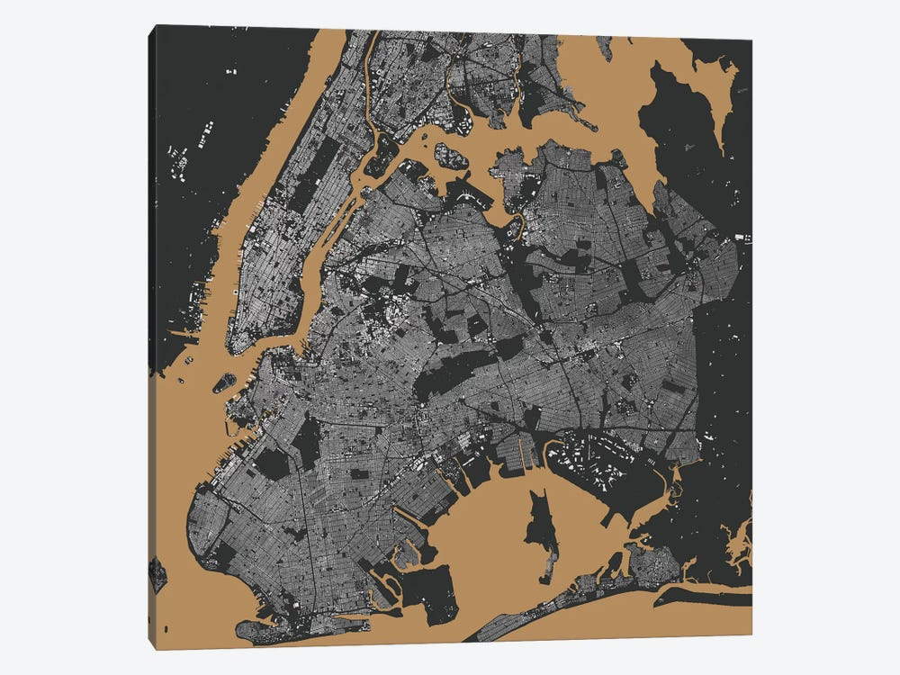 New York City Urban Map (Black & Gold) by Urbanmap 1-piece Canvas Art Print