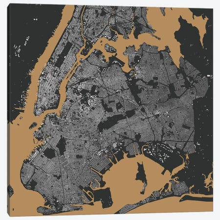 New York City Urban Map (Black & Gold) Canvas Print #ESV236} by Urbanmap Canvas Art Print