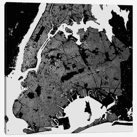 New York City Urban Map (Black) Canvas Print #ESV237} by Urbanmap Art Print