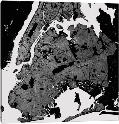 New York City Urban Map (Black) Canvas Art Print