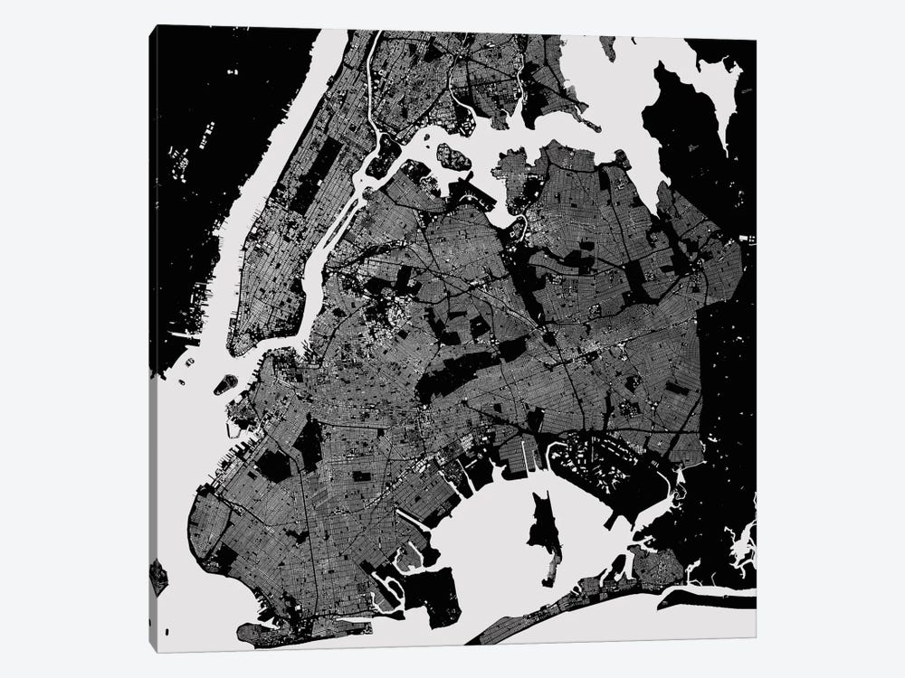 New York City Urban Map (Black) by Urbanmap 1-piece Canvas Art
