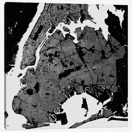 New York City Urban Map (Black) 3-Piece Canvas #ESV237} by Urbanmap Art Print