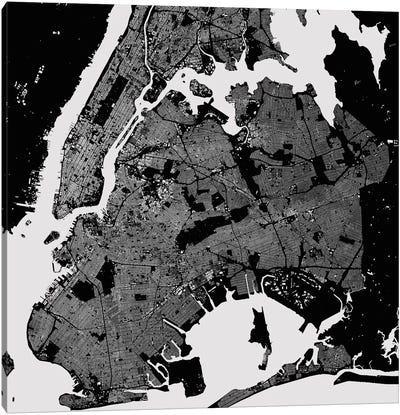 New York City Urban Map (Black) Canvas Art Print