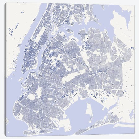 New York City Urban Map (Blue) Canvas Print #ESV238} by Urbanmap Canvas Art