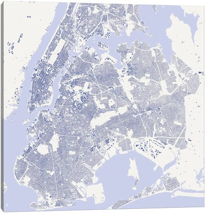 New York City Urban Map (Blue) Canvas Art Print