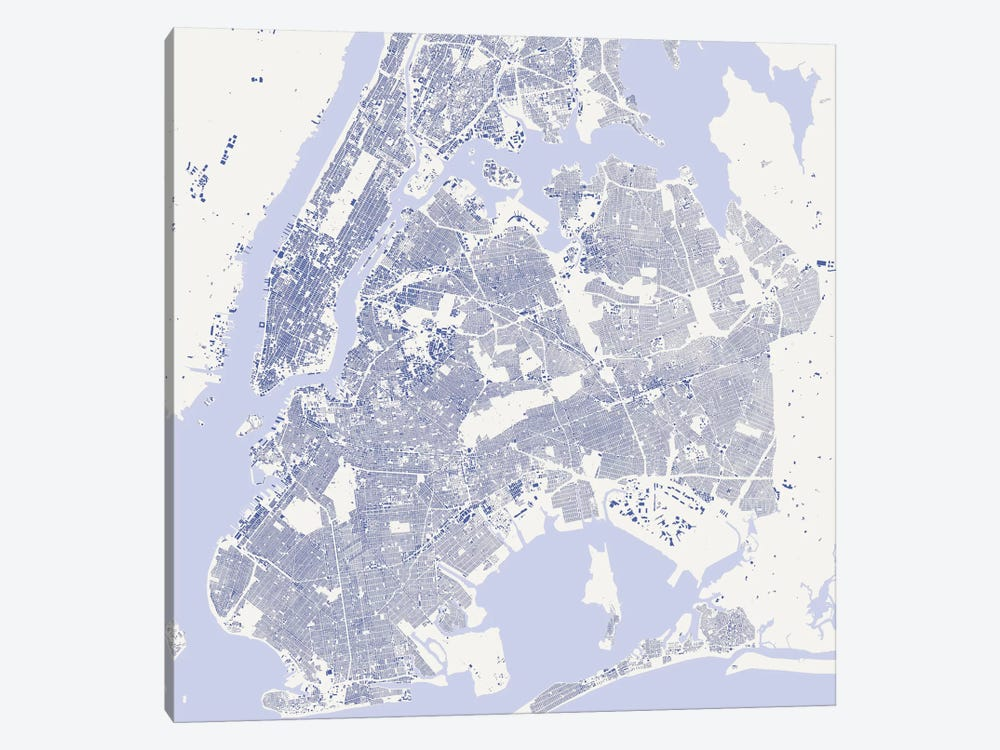 New York City Urban Map (Blue) by Urbanmap 1-piece Canvas Art Print