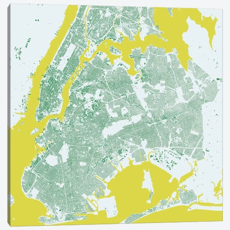 New York City Urban Map (Green) Canvas Print #ESV239} by Urbanmap Canvas Artwork