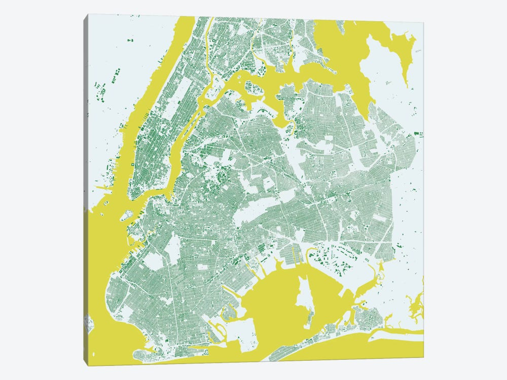 New York City Urban Map (Green) by Urbanmap 1-piece Canvas Wall Art