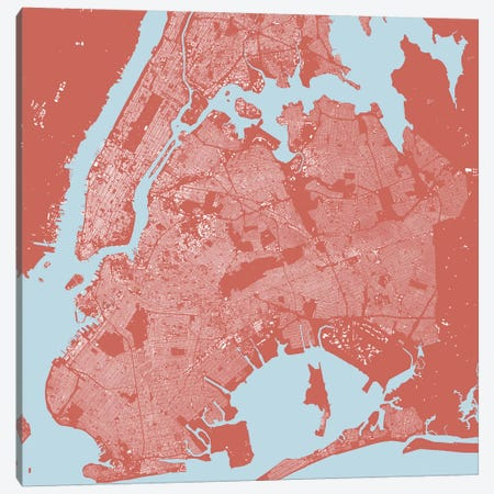 New York City Urban Map (Pink) Canvas Print #ESV240} by Urbanmap Canvas Print