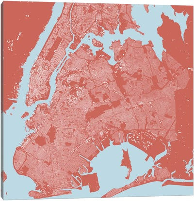New York City Urban Map (Pink) Canvas Art Print