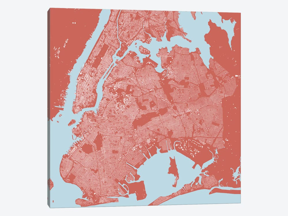 New York City Urban Map (Pink) by Urbanmap 1-piece Canvas Wall Art